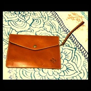 Patricia Nash Cognac Leather Clutch 9 x 7 inches